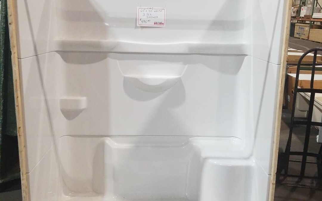 50 new #bath tubs just arrived.  Including this 3 piece 60″ shower for only $495