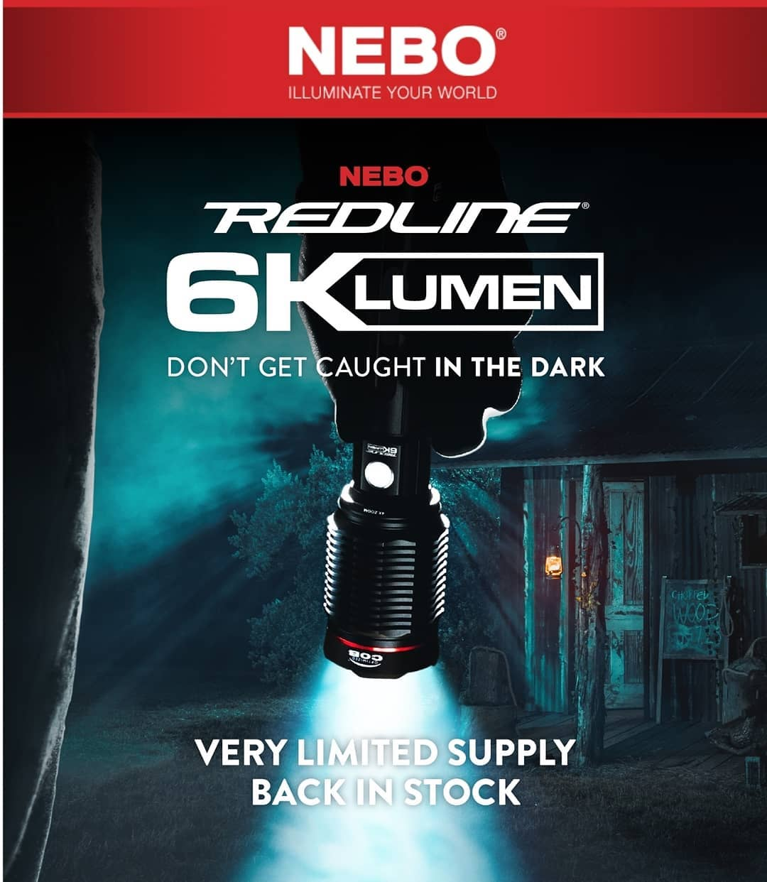 MSRP $99.99 Preorder today for only $84.95  The hot selling REDLINE 6K is a powerful, waterproof (IP67), rechargeable, 6,000 lumen flashlight. It features a 4x adjustable zoom and New Optimized C·O·B™ housed inside of an aircraft-grade anodized aluminum body with 4 light modes.  The REDLINE 6K also features a power bank and full-sized USB port to charge your mobile phone and other USB-powered devices.
