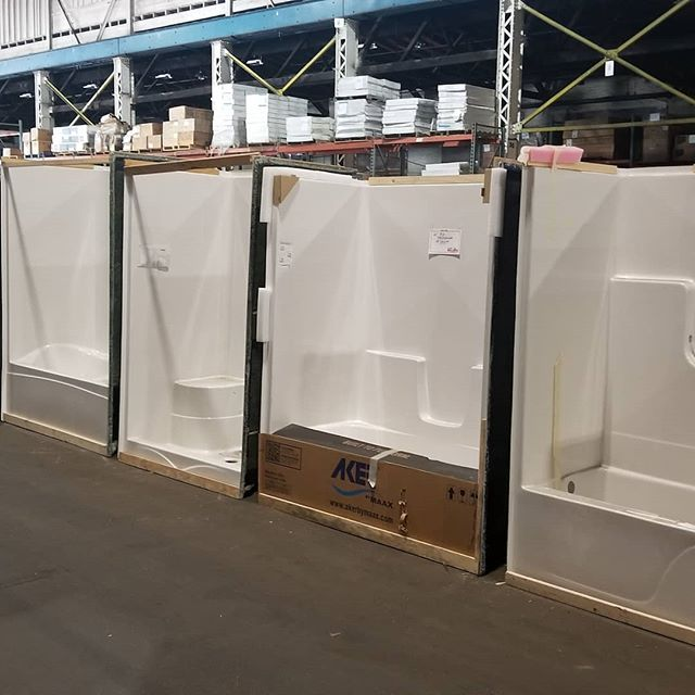 A new truckload of #bathtubs and #showers now in stock.  1 piece units as well as multi piece units.  Stop in our call for pricing